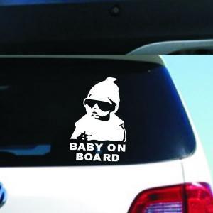 車用ステッカー ジョーク 赤ちゃんがノってます 白   悪魔エンブレム 天使 デビルちゃん 即納|kasimaw