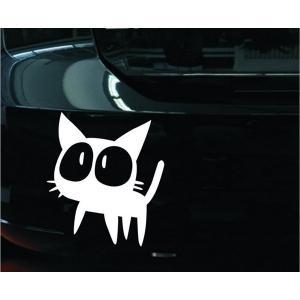 車用ステッカー 魔女の猫 白|kasimaw