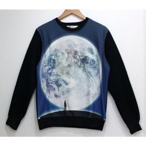 アート シャツ 長袖 地球を見る人 Lサイズ KZ-PRINTT5-101-L 予約|kasimaw