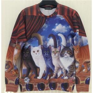 アート シャツ 長袖 キャットショー 猫 Lサイズ KZ-ARTSH-CATS-L 即納|kasimaw