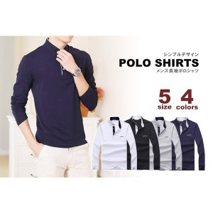 男性用 メンズファッション トップス 長袖 ポロシャツ 4色 5サイズ スポーティ KZ-T048 予約|kasimaw