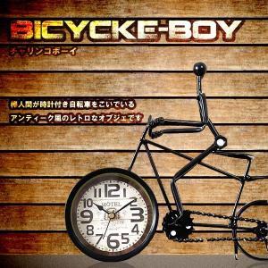 レトロ風 自転車 オブジェ アナログ時計 置き物 アンティーク風 鉄 KZ-E7-1560 予約|kasimaw