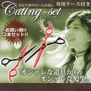 カッティング セット カット ハサミ 2本 スキバサミ ケース 付属 散髪 美容 理容 KZ-KAMIKIRI 即納|kasimaw