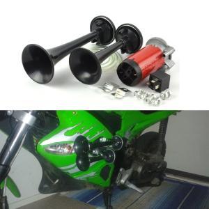 爆音 110DB 12V 2連ホーン 汎用 (ブラック) バイク 車 KZ-BSD-3 即納|kasimaw