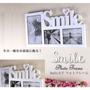 SMILE フォトフレーム 壁掛け用 写真入れ インテリア リビング 祝い 記念日 結婚祝い 写真 思い出 KZ-SMILEFRA 予約|kasimaw