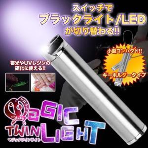 マジックツインライト ブラックライト LEDライト ハンディライト キーホルダー 釣り 蓄光 ルアー ジェルネイル UV レジン KZ-LDFJ-21  予約|kasimaw