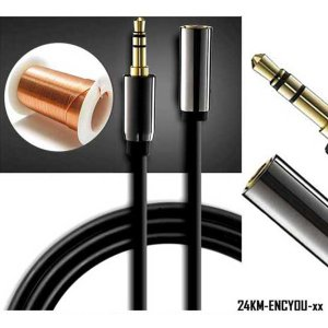 金メッキプラグ 延長ケーブル 3.5mm 【1.5m】 家庭用オーディオや車載オーディオ機器の延長に 高純度銅芯 シールド層 干渉防止 KZ-24KM-ENCYOU-015|kasimaw