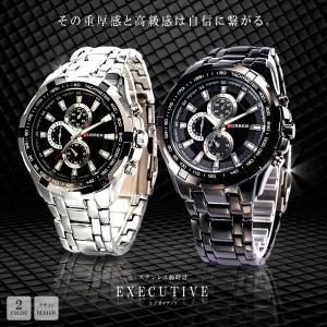 ステンレス腕時計 エグゼクティブ 大人 男性 ウォッチ 高級感 重厚感 おしゃれ クロック 軽量 文字盤 ブラック KZ-EXTICWAT  予約|kasimaw