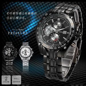 ステンレス腕時計 プレッシャー 大人 男性 ウォッチ 高級感 重厚感 おしゃれ クロック 軽量 文字盤 ブラック KZ-PREUDE 即納 kasimaw