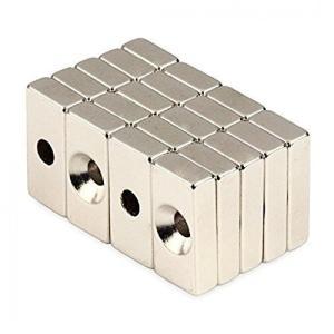 皿穴付き 強力マグネット 角型 ネオジウム磁石 N50磁石 20 × 10 × 5 mm 穴:4mm 5個セット KZ-NMG-018|kasimaw