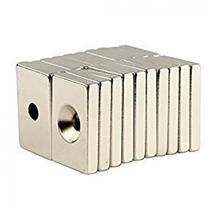 10個セット 角型 皿穴付き 強力マグネット N50 30 × 20 × 5 mm 穴:5mm KZ-NMG-028 即納|kasimaw
