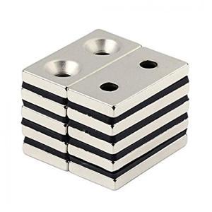 強力マグネット 角型 ネオジウム磁石 長方形N50磁石 皿穴付きマグネット ネオジウム 40 × 20× 5mm 両穴:5mm 5個セット KZ-NMG-047 即納|kasimaw