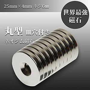 磁石 小型 強力 ネオジム ネオジウム マグネット/丸型皿穴付き 25mm×4mm ネジ穴6mm KZ-NMG-053 即納|kasimaw