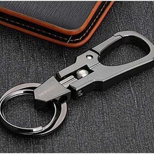 ダブル リング キーホルダー ブラック キーリング カラビナ フック ファッション デザイン メンズ 男性 車 鍵 キー P-KEY639-BK|kasimaw