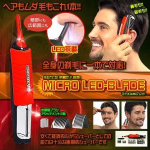 マイクロ LED ブレイド 髪 ヒゲ 鼻毛 耳毛 タッチ スイッチ コードレストリマー ヘアトリマー バリカン SWBLD 即納|kasimaw