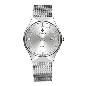 WWOOR 腕時計 メンズ アナログ 三針 日付表示 カレンダー ステンレスバンド クラシック 30M防水 シルバー|kasimaw