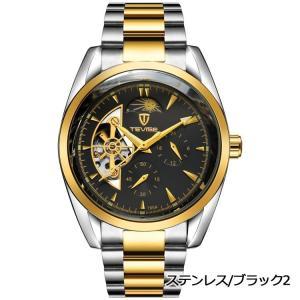 TEVISE 腕時計 メンズ アナログ ビジネス ステンレス ケース レザー バンド 自動巻き (ステンレス*ブラック2)