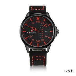 Naviforce メンズ スポーティー ビジネス日付一週間カレンダー革バンド アナログ クオーツ手首腕時計レッド|kasimaw
