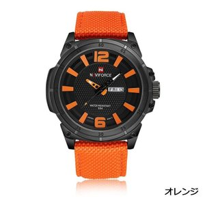 Naviforce 腕時計 アナログ 三針 日付曜日表示 30M防水 メンズ オレンジ|kasimaw