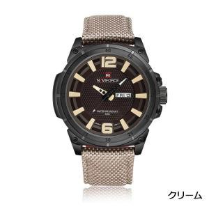 Naviforce 腕時計 アナログ 三針 日付曜日表示 30M防水 メンズ クリーム|kasimaw
