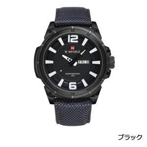 Naviforce 腕時計 アナログ 三針 日付曜日表示 30M防水  メンズ ブラック|kasimaw