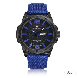 Naviforce 腕時計 アナログ 三針 日付曜日表示 30M防水 メンズ ブルー|kasimaw