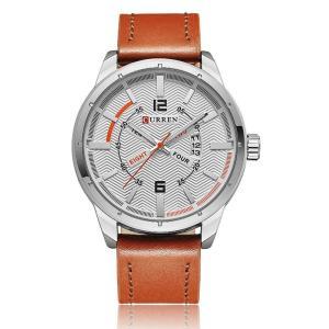 CURREN 腕時計 メンズ ファッション 三針 アナログ 日付表示 カレンダー 30M防水 レザーバンド ホワイト ブラウン kasimaw