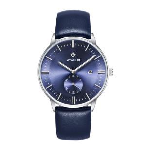 WWOOR 腕時計 メンズ アナログ 日付表示 カレンダー スモールセコンド 蓄光塗料指針 レザーバンド 30M防水 ダークブルー|kasimaw
