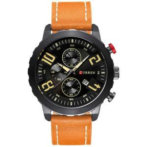 CURREN 腕時計 メンズ おしゃれ カジュアル アナログ表示 日付表示 30M防水 レザーバンド ブラック カーキ|kasimaw