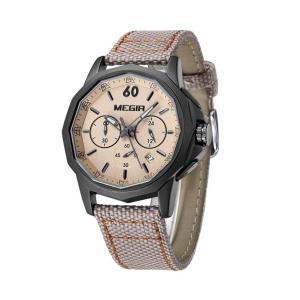 MEGIR 腕時計 メンズ 多針アナログ 日付 クロノグラフ 艶消しケース カンバスバンド カーキ ブラック|kasimaw