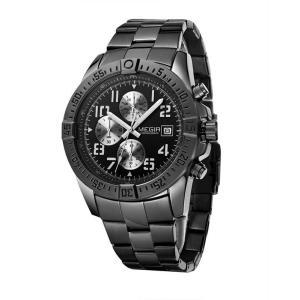 MEGIR 腕時計 メンズ 多針アナログ 日付 クロノグラフ ステンレスバンド ブラック|kasimaw