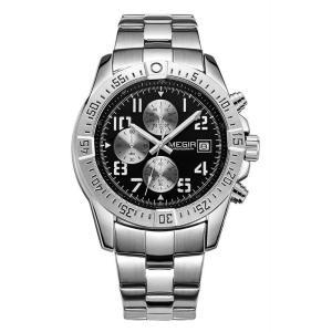 MEGIR 腕時計 メンズ 多針アナログ 日付 クロノグラフ ステンレスバンド シルバー ブラック|kasimaw