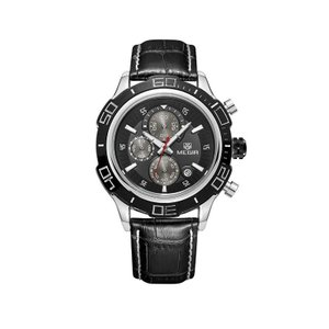 MEGIR 腕時計 メンズ 多針アナログ 日付 クロノグラフ レザーベルト ブラック|kasimaw