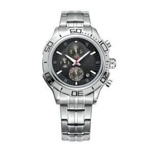 MEGIR 腕時計 メンズ 多針アナログ 日付 クロノグラフ ステンレスバンド ブラック シルバー|kasimaw