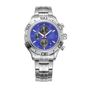 MEGIR 腕時計 メンズ 多針アナログ 日付 クロノグラフ ステンレスバンド シルバー ブルー|kasimaw
