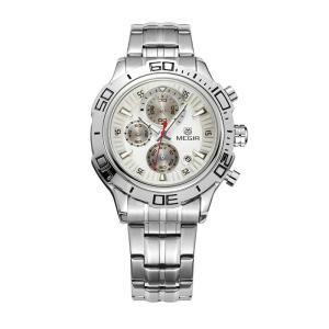 MEGIR 腕時計 メンズ 多針アナログ 日付 クロノグラフ ステンレスバンド シルバー ホワイト|kasimaw