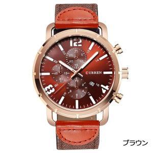 CURREN 腕時計 メンズ シンプル オシャレ アナログ 日付 カンバスバンド ブラウン|kasimaw