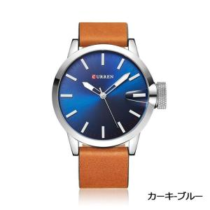 CUEEEN 腕時計 メンズ オシャレ シンプル アナログ バーインデックス 30M防水 レザーベルト クォーツ カーキ ブルー kasimaw