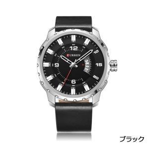 CUEEEN 腕時計 メンズ オシャレ カジュアル アナログ 5日間日付 30M防水 レザーベルト クォーツ ブラック|kasimaw