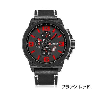 CUEEEN 腕時計 メンズ オシャレ カジュアル アナログ 3日間日付 30M防水 レザーベルト クォーツ ブラック レッド kasimaw