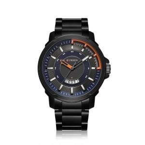 CURREN 腕時計 メンズ カジュアル アナログ表示 3気圧防水 ステンレス クォーツ オレンジ ブラック-ダ クブルー|kasimaw
