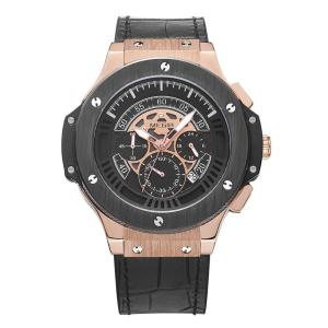 MEGIR 腕時計 メンズ カジュアル アナログ クロノグラフ 革ベルト 合金ケース ルミナス 3気圧防水 ブラック ゴールド kasimaw