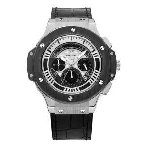 MEGIR 腕時計 メンズ カジュアル アナログ 日付 クロノグラフ 革ベルト 合金ケース ルミナス 3気圧防水 ブラック|kasimaw