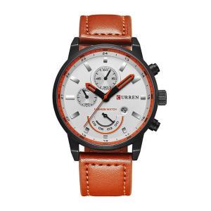 CURREN 腕時計 メンズ ファッション 笑顔 三針 アナログ 日付表示 カレンダー 30M防水 レザーバンド ブラック|kasimaw