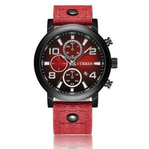 CURREN 腕時計 メンズ ファッション 三針 アナログ 日付表示 カレンダー 30M防水 レザーバンド レッド kasimaw