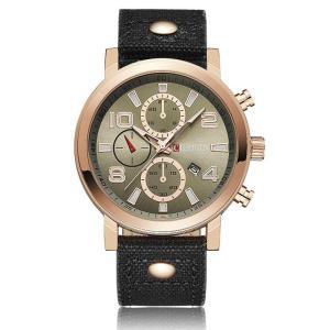 CURREN 腕時計 メンズ ファッション 三針 アナログ 日付表示 カレンダー 30M防水 レザーバンド ブラック|kasimaw