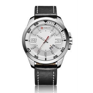 CURREN 腕時計 メンズ シンプル 三針 アナログ 日付表示 カレンダー 30M防水 レザーバンド ブラック|kasimaw
