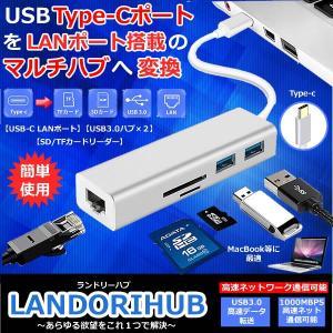 ランドリーハブ USB Type-c ハブ 高速 有線LAN アダプタ 増設 カードリーダー USB3.0 2個 SD TFカード対応 高速データ転送 hub LANDORIHUB|kasimaw