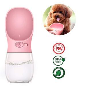 犬 給水器 携帯用 ペット ウォーターボトル 水槽付き 水漏れ防止 BPAフリー 犬猫 散歩 旅行用品 携帯便利 軽量タイプ (350ml, ピンク)WATER FOUTAIN|kasimaw