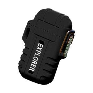 ライター ブラック 防水 電子 USB 充電式 ガス 無炎 防風 電気 アーク プラズマ GUNLITER-BK|kasimaw|06